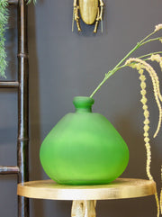 Frosted Green Bottle Vase