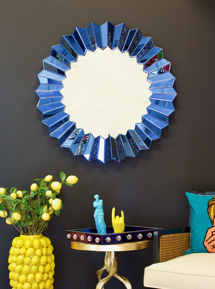 Electric Blue Corrugated Mirror