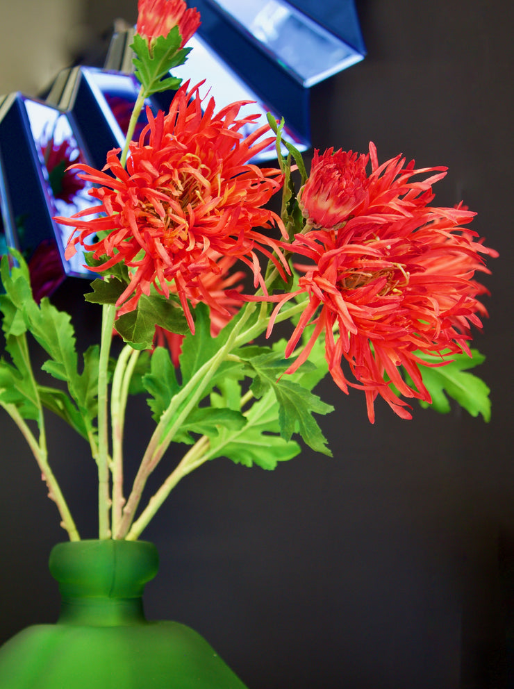 Faux Orange Spider Mum Stem - set of 3 stems
