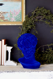 Cobalt Blue Large Flocked David Bust