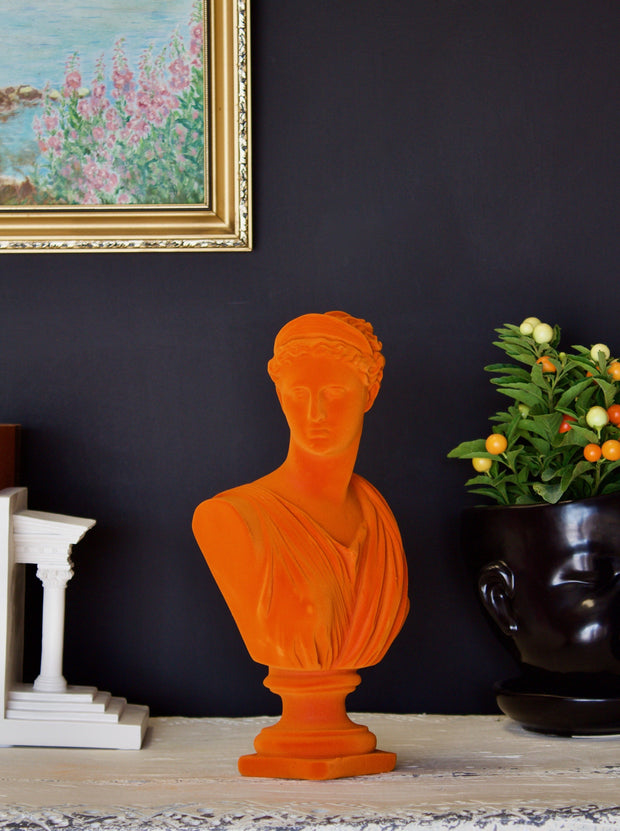 Bright Orange Flocked Large Artemis Bust