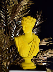 Bright Yellow Flocked Large Artemis Bust