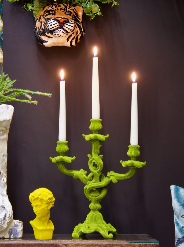 Lime Green Flock Candelabra
