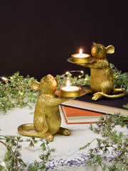 Gold Mice Tealight Holder - set of 2