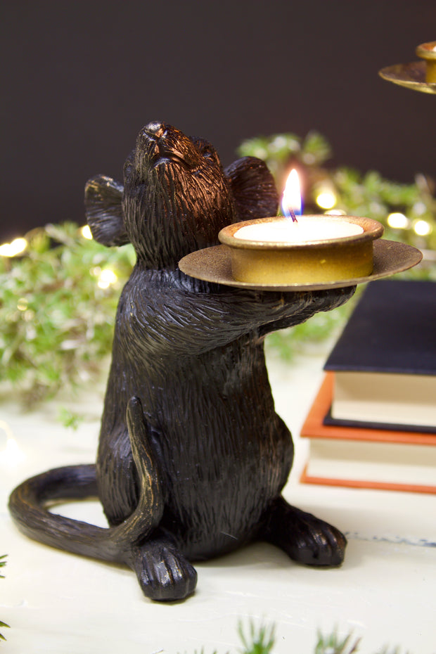 Black Mice Tealight Holder - set of 2