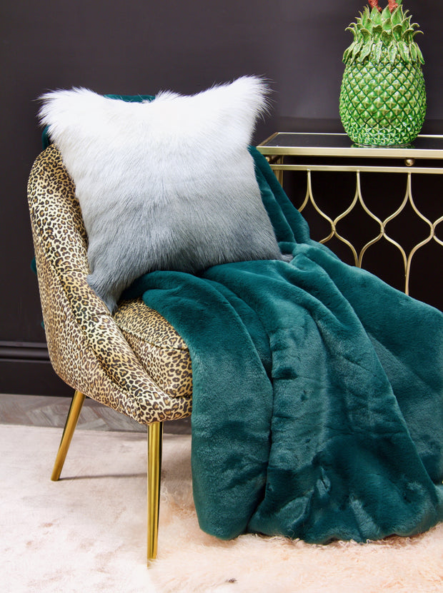Luxurious Bottle Green Faux Fur Throw
