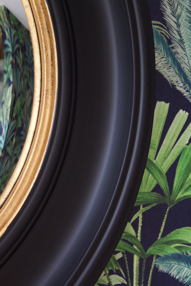 Large Round Black & Gold Convex Mirror