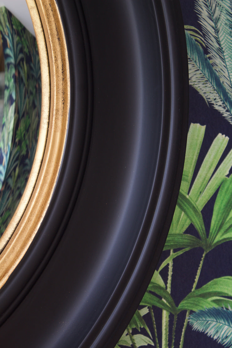 Large Black Convex Mirror with Aged Gold Detail