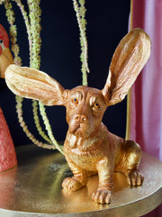 Gold Surprised Basset Hound Decor