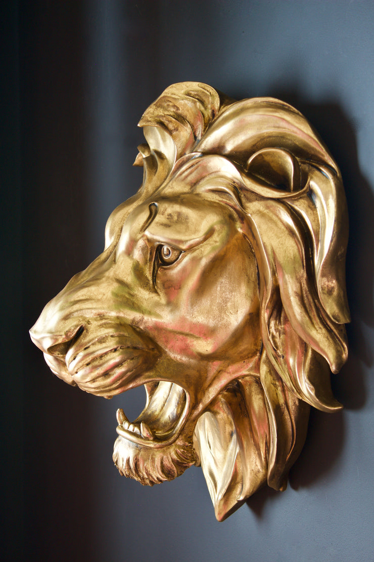 Large Gold Roaring Lion Wall Decor