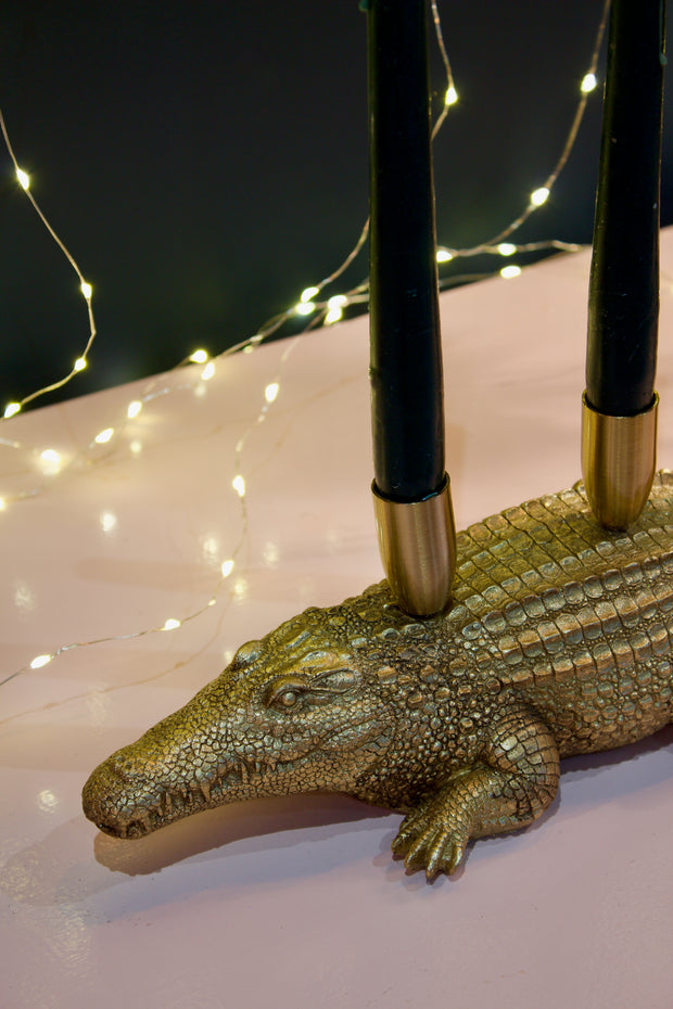 Divine Crocodile Gold Candle Holder