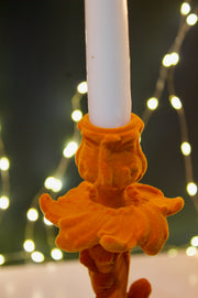 Bright Orange Flock Candelabra