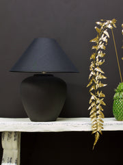 Pitch Black Oversized Ceramic Table Lamp