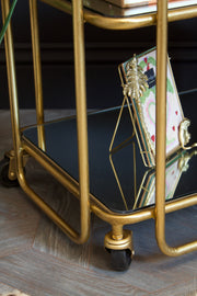 Antique Gold Drinks Trolley