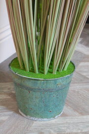 Faux Ornamental Grass in Galvanised Pot