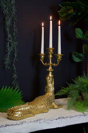 Exquisite Large Gold Crocodile Candelabra