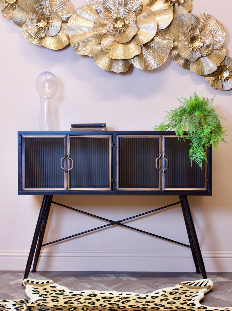 Foulton Black & Gold Cabinet with Corrugated Doors