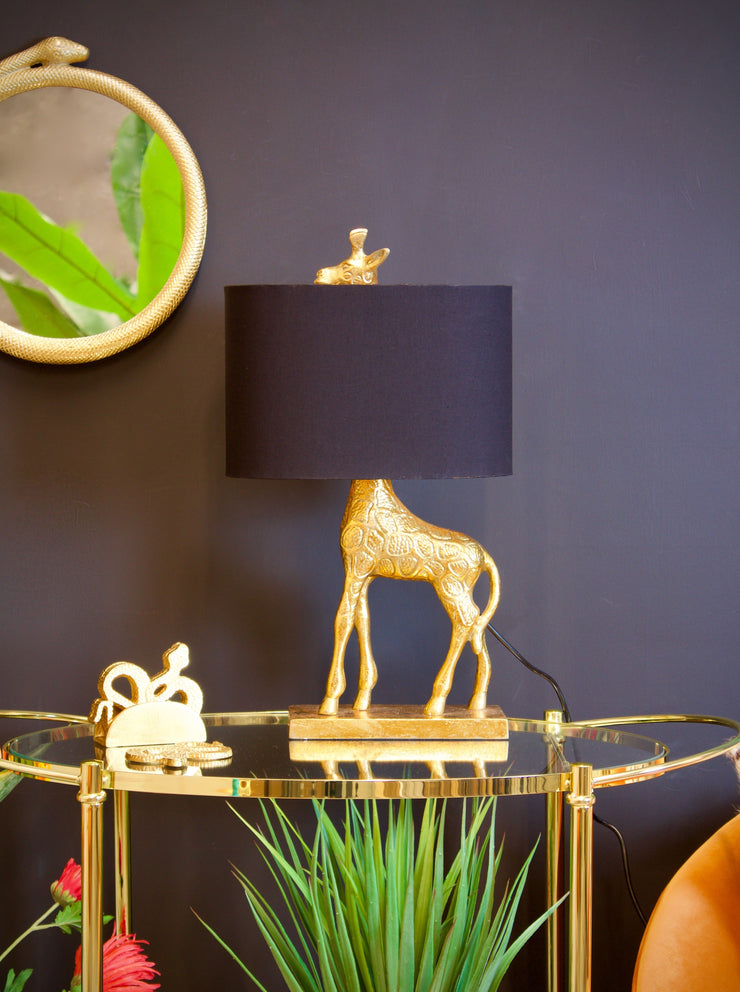 Gold Giraffe Table Lamp with Black Shade