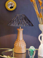 Terracotta Bobbled Table Lamp with Raffia Shade