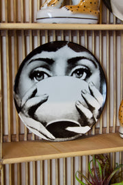 Drinking Lady Ceramic Plate