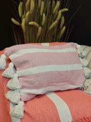 Pretty Pink Striped Tasselled Cushion with Duck-Down Insert