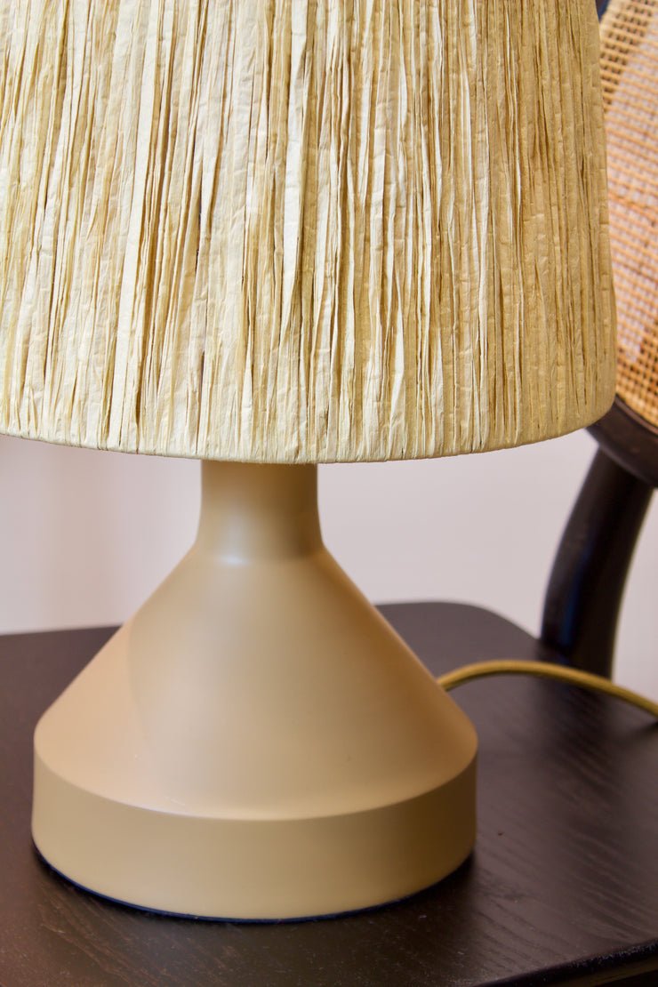 Beige Iron Table Lamp with Raffia Shade