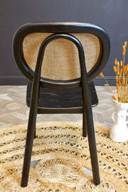 Black Wood & Woven Cane Dining Chair