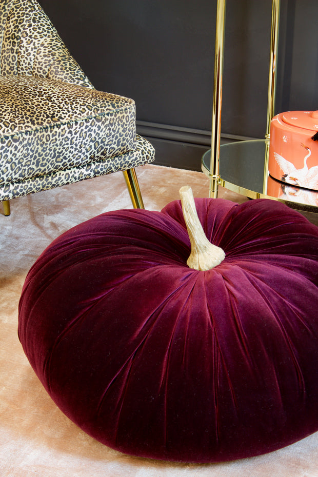 Large Velvet Decorative Aubergine Pumpkin