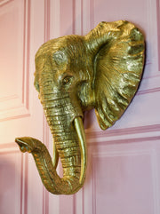 Large Golden Elephant Wall Decor
