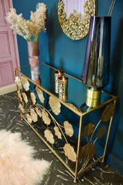 Gold Leaf Iron Console Table with Mirrored Top