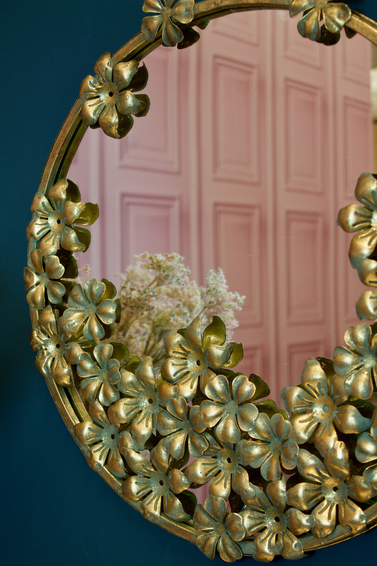 Lucia Round Gold Flower Mirror