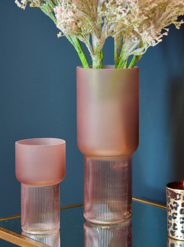 Kassis Pink Ribbed Glass Vase