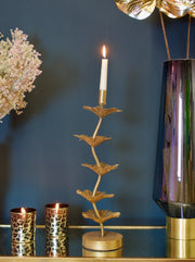 Coral Large Gold Candle Holder