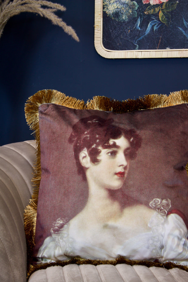 Velvet Classical Lady Cushion with Fringe