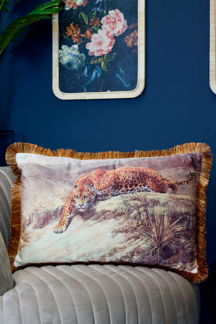 Velvet Cheetah Cushion with Fringe