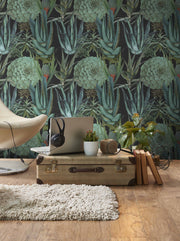 Mind the Gap Succulents Anthracite Wallpaper