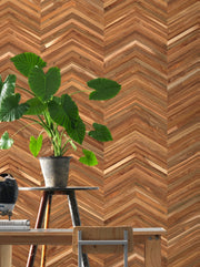 Timber Strips Wallpaper - Teak on Chevron