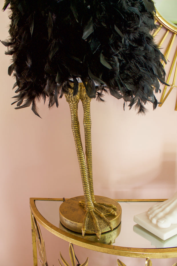Black Ruffled Feather Birds Leg Table Lamp