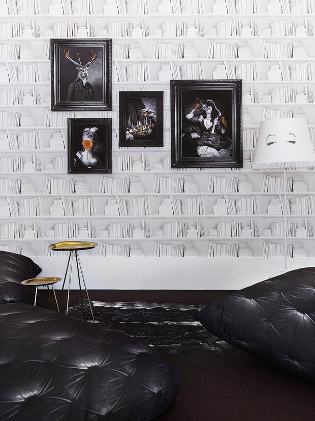 White Bookshelf Wallpaper by Young & Battaglia