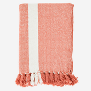 Coral Striped Woven Throw with Fringe