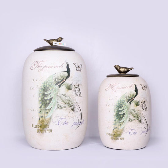 Hand-Painted Peacock Ceramic Pot Set