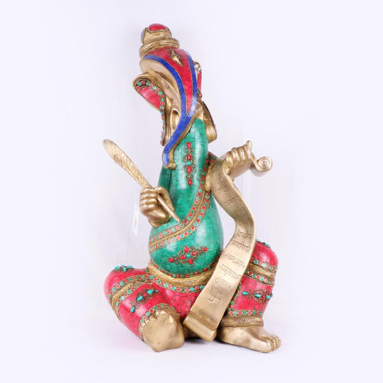 Brass Ganesh With Scroll