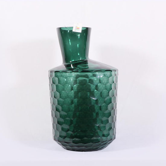 Honeycomb Green Glass Vase 1