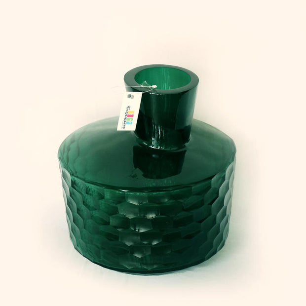 Honeycomb Green Glass Vase 2