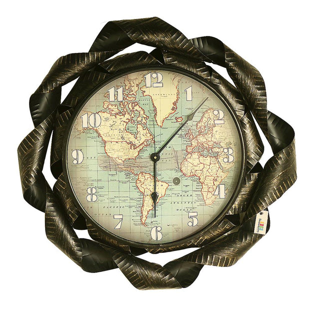 World Backlit Metal Wall Clock
