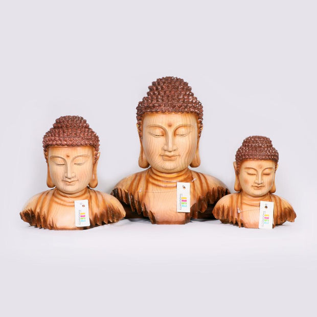 Carved Wooden Buddha Set