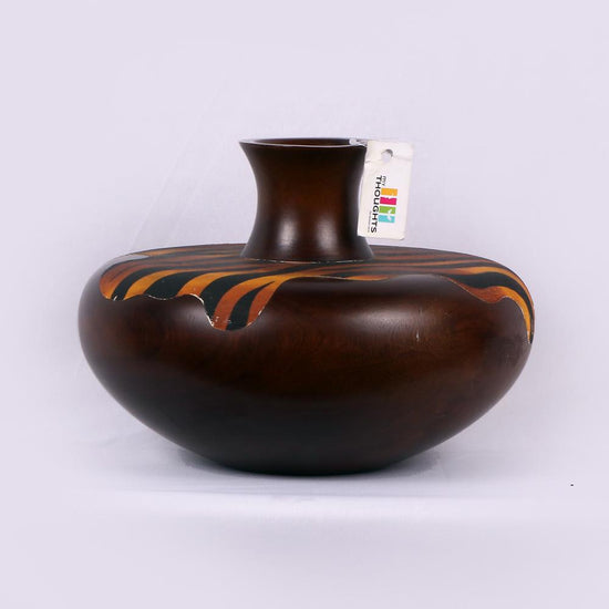 Wooden Pot With Flames