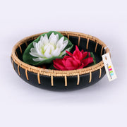 Rattan Edge Weaved Black Bowl