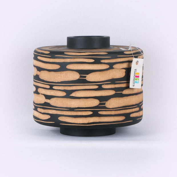 Natural Wood Cylindrical Pot