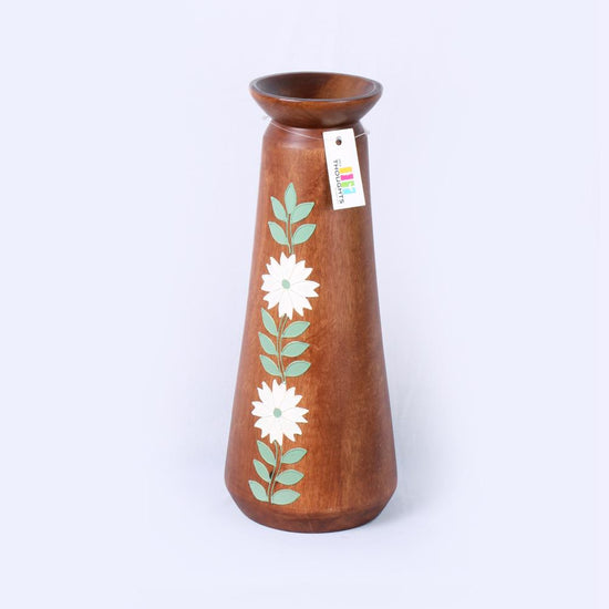 Hand-Painted Wooden Vase